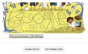 Srinivasa Ramanujan's 125th Birthday Google Doodle