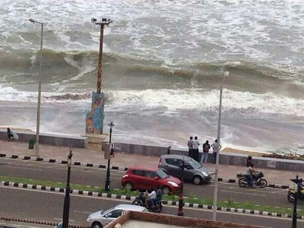 Waves almost touching the wall in RK beach in Vizag