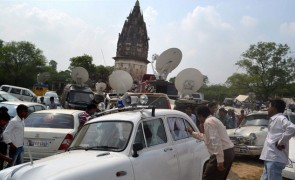 Media at Raja Rao Ram Bux fort where archaeologists began excavation work in Unnao to trace hidden gold.
