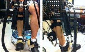 Robot 'Anklebot' helps determine ankle stiffness for helping stroke patients to walk.