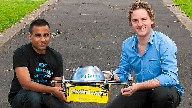Zookal textbook rental service founder Ahmed Haider, 27, and founder of drone service Flirtey Matthew Sweeny, 26