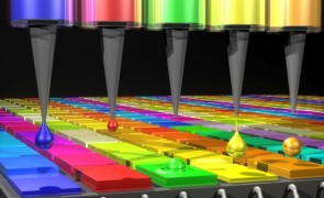 The Quantum Dot (QD) spectrometer device is printing QD filters — a key fabrication step.  Here in the QD spectrometer approach, the optical structure — QD filters — are generated by printing liquid droplets. This approach is unique and advantageous in terms of flexibility, simplicity, and cost reduction.