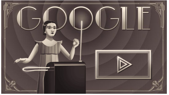 Google shows  Doodle for Clara Rockmore's 105th Birthday
