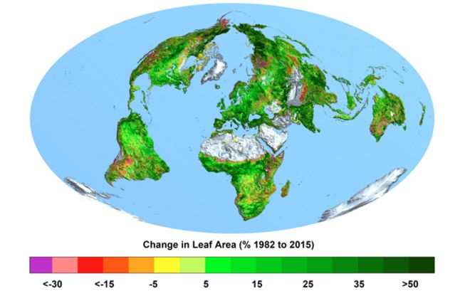 Increasing CO2 makes the Earth Greener.