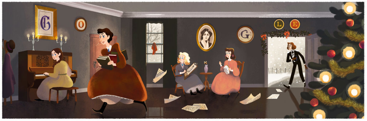 "Louisa May Alcott Google Doodle. Louisa May Alcott is the Author of ""Little Women"""
