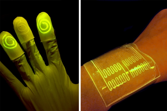 Cell-infused Gloves and Bandages light up when in contact with certain Chemicals