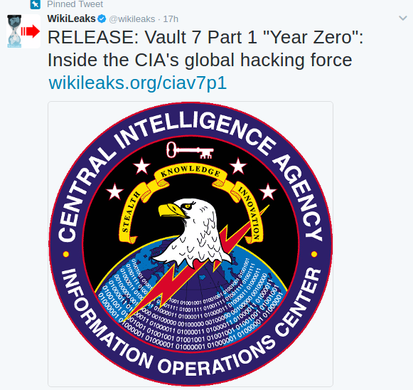 Vault 7: WikiLeaks Reveals CIA Hacking Tools and Releases CIA Hacking Documents