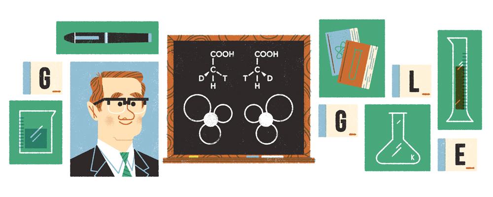 Sir John Cornforth's 100th Birthday Google Doodle