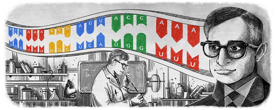 Har Gobind Khorana's 96th Birthday Google Doodle
